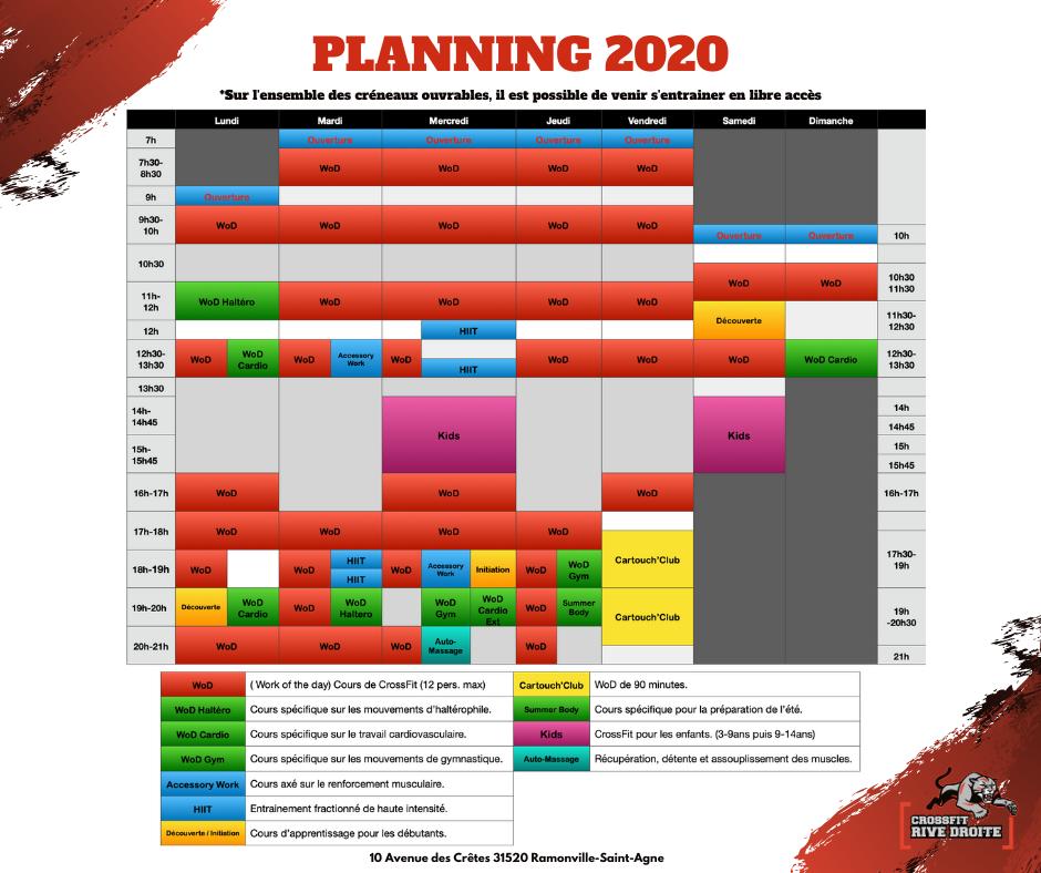 Planning Crossfit Rive Droite